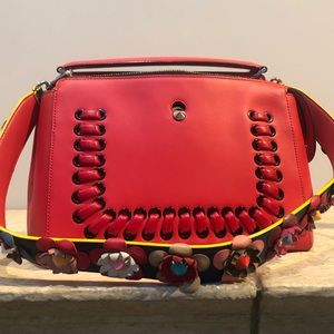 Fendi dot com red flowers bag shoulder strap purse